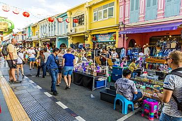 The famous Walking Street night market in Phuket old Town, Phuket, Thailand, Southeast Asia, Asia