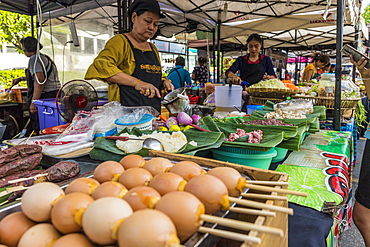 A food stall at the Indy market in Phuket old town, Phuket, Thailand, Southeast Asia, Asia