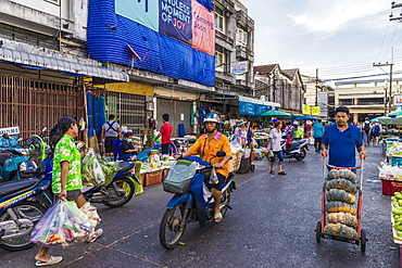 A market scene at the 24 hour local fresh food market in Phuket Town, Phuket, Thailand, Southeast Asia, Asia