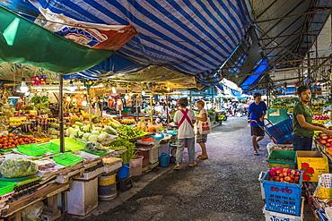 Market stalls at the 24 hour local market in Phuket Town, Phuket, Thailand, Southeast Asia, Asia