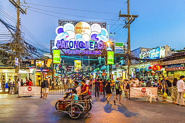 The neon sign at Patong beach at night in Patong, Phuket, Thailand, Southeast Asia, Asia