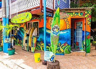 A colourful local surf school and rental shop in Bocas Town, Colon Island, Bocas del Toro Islands, Panama.