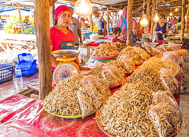 Dried fish for sale at the local market in Ao Nang, Krabi Province, Thailand, Southeast Asia, Asia