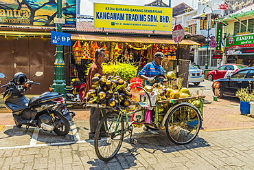 A mobile coconut seller and his stall in Little India, George Town, Penang Island, Malaysia, Southeast Asia, Asia