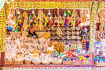 A market stall in the main square, Rynek Glowny, in the medieval old town, a UNESCO World site,in Krakow, Poland, Europe.