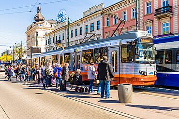 A local tram in Krakow, Poland, Europe.