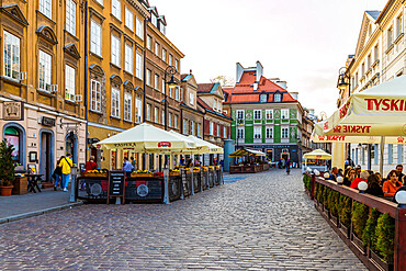 A street scene in the New Town in Warsaw, Poland, Europe.