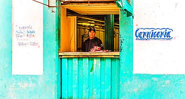 A typical street meat market in Havana, Cuba, West Indies, Caribbean.