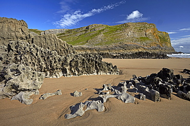 Eroded limestone rocks at Mewslade Bay, Gower, Wales, United Kingdom, Europe