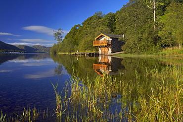 The Duke of Portland boathouse on the shore of Ullswater, Lake District National Park, UNESCO World Heritage Site, Cumbria, England, United Kingdom, Europe