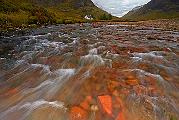Lagangarbh Hut and the River Coupall at Altnafeadh, Argyll and Bute, Scotland, United Kingdom, Europe