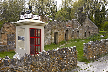 The abandoned ghost village of Tyneham showing the restored 1940s telephone booth, near Wareham, Dorset, England, United Kingdom, Europe
