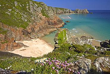 Pednvounder Beach and Treen Cliffs at Porthcurno, Cornwall, England, United Kingdom, Europe