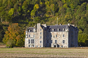 Castle Menzies, the ancestral seat of Clan Menzies, west of the village of Weem, near Aberfeldy, Perthshire, Scotland, United Kingdom, Europe