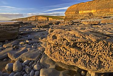 The varied geology of rocks at Dunraven Bay, Southerndown, Glamorgan, Wales, United Kingdom, Europe