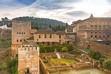 Alcazaba ruins at The Alhambra, UNESCO World Heritage Site, Granada, Andalucia, Spain, Europe