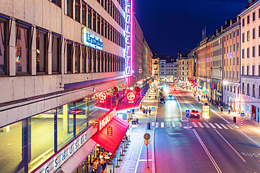 Kungsgatan, kings Street in Norrmalm at night with first ever cinema theater in Sweden ' Biograf Rigoletto' on the left side