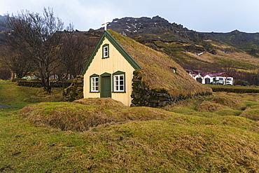 Lutheran Myrdal Turf Church of Hof surrounded by moss, Skaftafell, Iceland, Polar Regions
