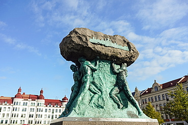 Memorial statue at Mollevangstorget, a town square in Mollevangen, Malmo, Skane county, Sweden, Europe