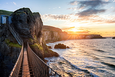 Carrick-a-Rede Rope Bridge at sunset, County Antrim, Ulster, Northern Ireland, United Kingdom, Europe