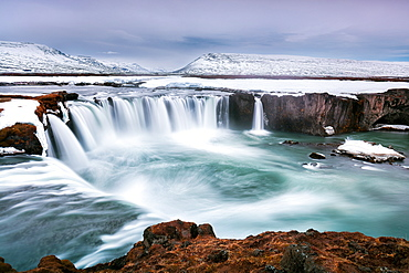 Godafoss in Northern Iceland, at blue hour during the last of the winter weather, Iceland, Polar Regions
