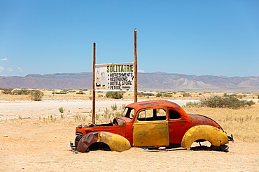 Solitaire is a cool town in the middle of Namibia, full of rusting cars, bikes and disused fuel pumps, Solitaire, Namibia, Africa