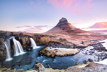Kirkjufellfoss at sunrise, Iceland, Polar Regions