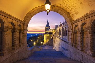 Fisherman's Bastion with dramatic sunrise, Buda Castle Hill, Budapest, Hungary, Europe