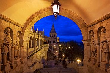 The Fishermans Bastion at night, UNESCO World Heritage Site, Budapest, Hungary, Europe