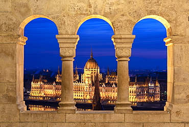 The Hungarian Parliament at night, viewed from the columns of the Fisherman's Bastion, UNESCO World Heritage Site, Budapest, Hungary, Europe