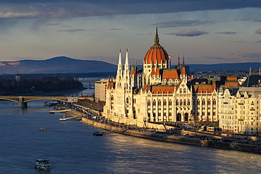 The Parliament building in dramatic light, UNESCO World Heritage Site, Budapest, Hungary, Europe