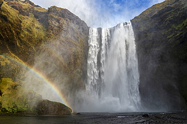 Skogafoss waterfall with a rainbow, Skogar, East Iceland, Iceland, Polar Regions