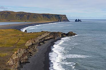 The Reynisdrangar coastline and Sea Stacks, Reynisfjara, Vik, Iceland, Polar Regions