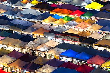 Multi-colored tents at the Ratchada train night market, Bangkok, Thailand, Southeast Asia, Asia