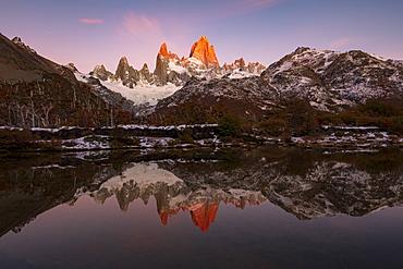 Mount Fitz Roy and Cerro Torre with incredible sunrise, Los Glaciares National Park, UNESCO World Heritage Site, El Chalten, Santa Cruz Province, Patagonia, Argentina, South America