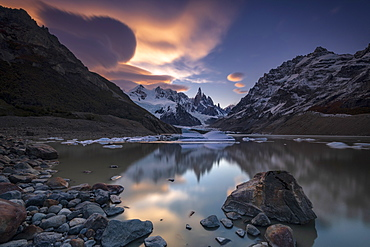 Laguna Torre at sunset, Los Glaciares National Park, UNESCO World Heritage Site, Santa Cruz Province, Argentina, South America