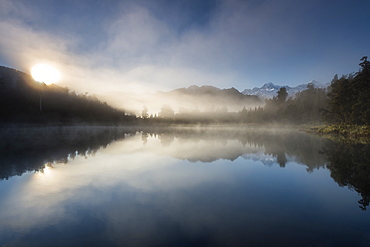 Sunrise at Lake Matheson, near the Fox Glacier in South Westland, South Island, New Zealand, Pacific