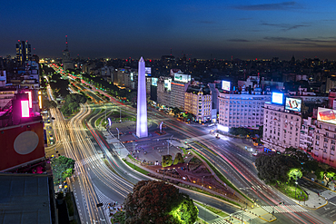 Obelisco on 9 de Julio Avenue at night, Buenos Aires, Argentina, South America
