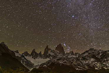 Mount Fitz Roy and Cerro Torre at night with star trails, El Chalten, Patagonia, Argentina, South America