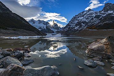 Sunset at Laguna Torre, Los Glaciares National Park, UNESCO World Heritage Site, Santa Cruz Province, Argentina, South America