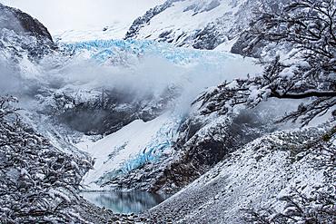 A winter scene at Piedras Blancas Glacier, Los Glaciares National Park, UNESCO World Heritage Site, Patagonia, Argentina, South America