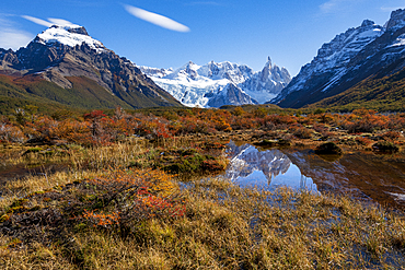 A typical Patagonian landscape with Mount Fitz Roy, El Chalten, Los Glaciares National Park, UNESCO World Heritage Site, Patagonia, Argentina, South America