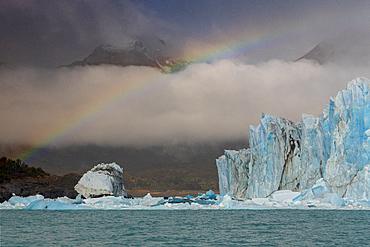 Rainbow over Perito Moreno Glacier in Los Glaciares National Park, UNESCO World Heritage Site, Santa Cruz Province, Patagonia, Argentina, South America
