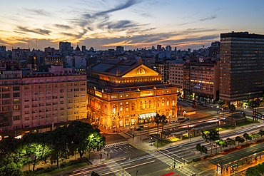 The Teatro Colon at sunset on 9 de Julio Avenue at night, Buenos Aires, Argentina, South America