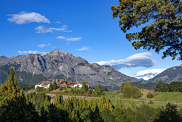 Llao Llao Hotel set against mountain backdrop, Bariloche, Patagonia, Argentina, South America