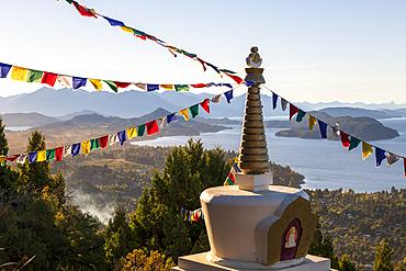 Stupa de la Iluminacion looking over lake Nahuel Huapi, Bariloche, San Carlos de Bariloche, Patagonia, Argentina, South America