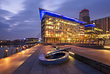 MediaCity UK with BBC building, Salford Quays, Manchester, England, United Kingdom, Europe