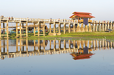 View of U-Bein Bridge, Mandalay, Mandalay Region, Myanmar (Burma), Asia