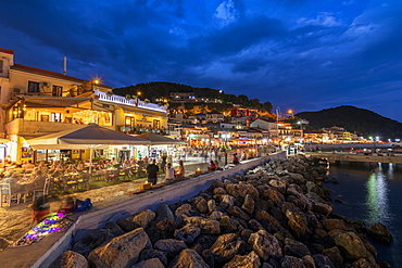 Parga town and harbour at night, Parga, Preveza, Greece, Europe