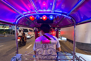 Tuk tuk on Sukhumvit Road in downtown Bangkok, Thailand, Southeast Asia, Asia